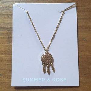 Summer and Rose Gold Dream Catcher Necklace